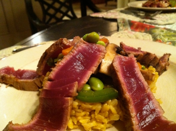 Seared Ahi Tuna with Chinese Stir Fry Vegetables #glutenfree #paleo #edrecovery #food #beautybeyondbones