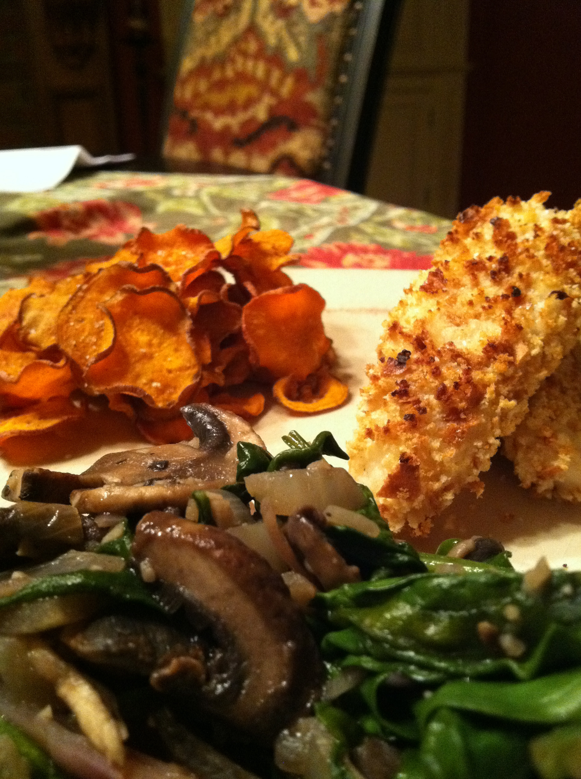 ... : GF Cod Fish Sticks w/ Baked Sweet Potatoes and Spinach