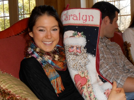 check out the beautiful stocking my mom needlepointed! She's amazing!