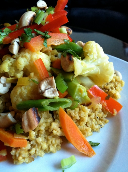 Creamy Cashew Curry over Millet! Recipe by BeautyBeyondBones! Gluten Free, Vegan and Paleo! #glutenfree #healthy #edrecovery #food #vegan #paleo #curry #dinner #vegetarian